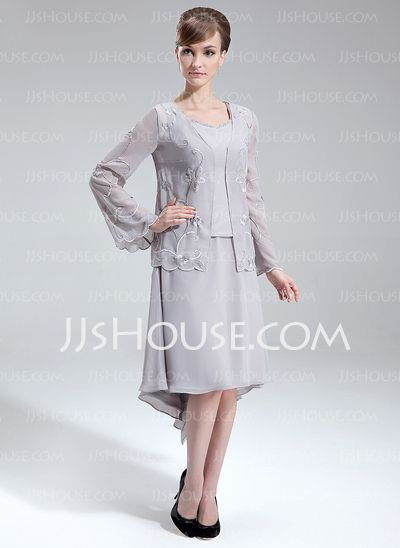 Mother of the Bride Dresses - $126.99 - A-Line/Princess V-neck Asymmetrical Chiffon Mother of the Bride Dress With Beading (008006093) http://jjshouse.com/A-Line-Princess-V-Neck-Asymmetrical-Chiffon-Mother-Of-The-Bride-Dress-With-Beading-008006093-g6093