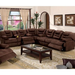 Sectional Recliner Sofa With Cup Holders In Chocolate Microfiber Sort Of What Our Next Couch Is Going To Be Like