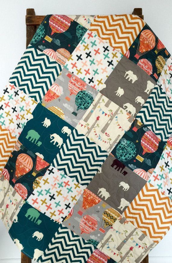 Baby Quilt, Gender Neutral, Hot Air Balloons, Elephants, Chevron, Gray, Teal, Coral, Orange, Crib Bedding, Crib Quilt, Baby Bedding, Blanket