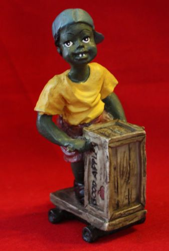 "Black Americana Boy with Apple Cart Figurine 4 1/4"" Christmas Gift Collectible"