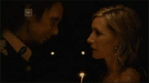 """Still of Suzy Darling (played by Claudia Karvan) and Henry Mallet (Matt King) from """"Spirited"""" tv series. GIF"""