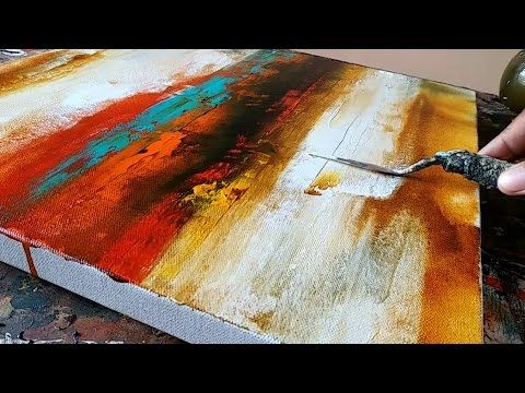 Abstract Painting Easy How To Paint Acrylic Just Using Palette Knife Demo