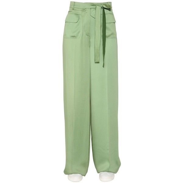 Valentino Women Matte Silk Satin Fluid Pants (7.485 RON) ❤ liked on Polyvore featuring pants, light green, valentino pants, green trousers, button pants, zip pocket pants and light green pants