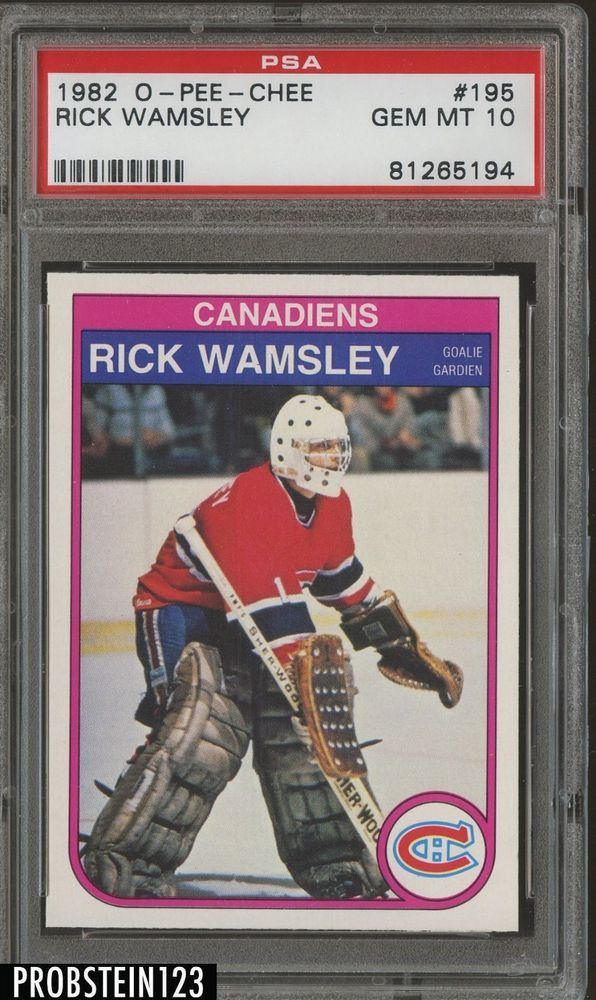 1982 O Pee Chee OPC Hockey 195 Rick Wamsley Canadiens RC Rookie PSA