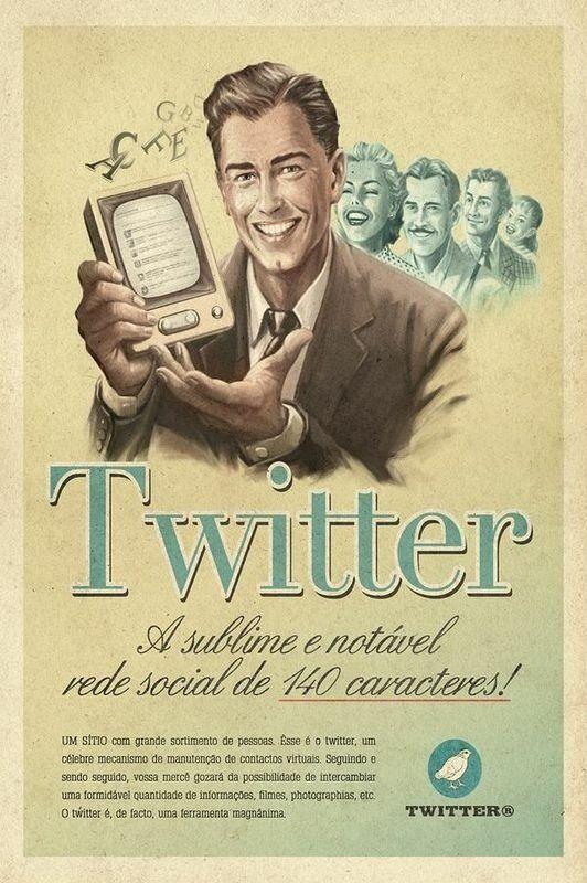 Quadro/Poster - Twitter - Propaganda estilo Vintage - Vintage Art - Quadros e…