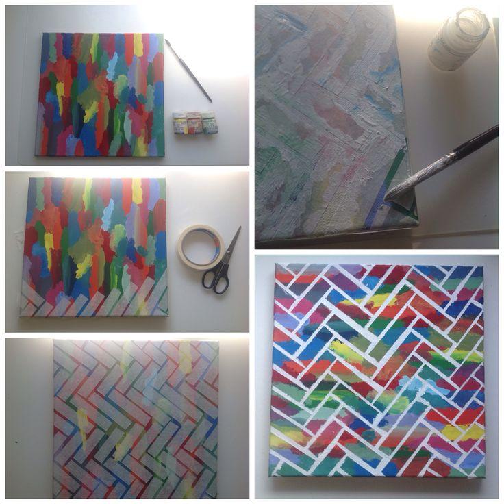 Leuk schilderij en redelijk gemakkelijk om te maken. Mss met de witte verf 2 laagjes zodat de kleuren zich niet vermengen. Veel plezier ermee