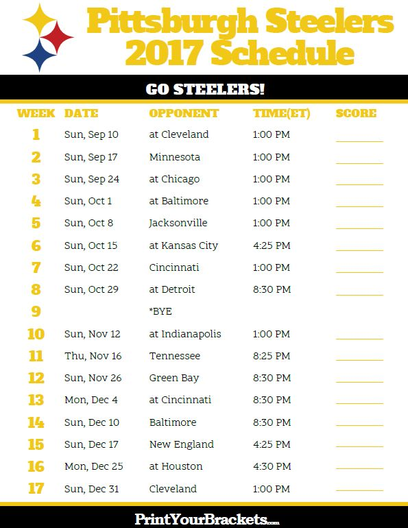 Printable Pittsburgh Steelers Football Schedule