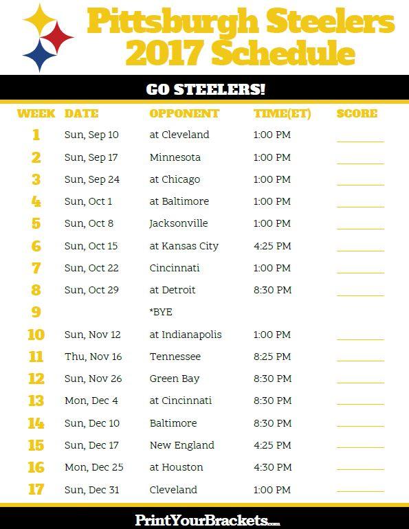 Printable Pittsburgh Steelers Football Schedule
