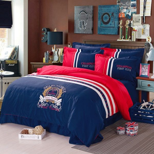 100% cotton champion boys / girls bedding set 3d bed linen with duvet cover / bed sheet / pillow cases king / queen size