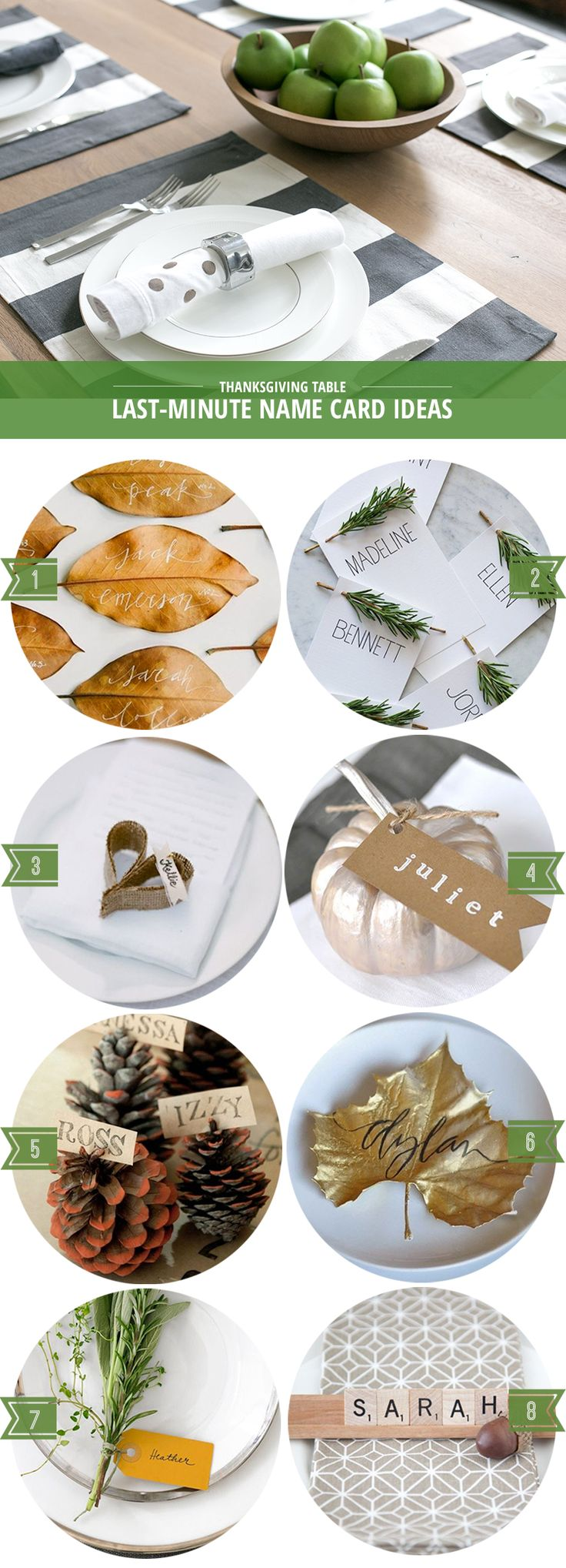 Last-minute ideas for Thanksgiving name cards that are simple to make and use materials you likely have on hand.
