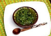 Chimichurri. A sauce of herbs, garlic, and vinegar.