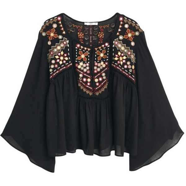 Mango Embroidered Boho Blouse, Black ($31) ❤ liked on Polyvore featuring tops, blouses, black embroidered top, bohemian blouses, bell sleeve blouse, long black top and bohemian tops