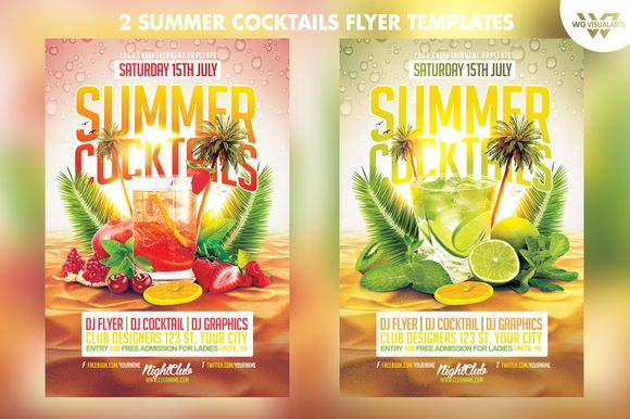 2in1 Summer Cocktail Flyer Template – Summer Flyer Template