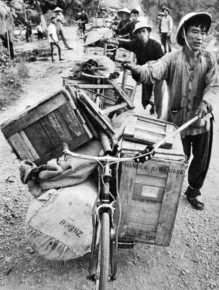 Here are some North Vietnamese civilians who are transferring supplies on the Ho Chi Minh Trail during the Vietnam War in 1963. Using bicycles must have been much easier to transport material because they can be wheeled quickly, and are pretty versatile. However, I doubt that it was a simple trip because of the American soldiers who were always on the lookout, and the untidy gravel roads. I wonder if these citizens were paid for this task, and if they were ever caught by the U.S.