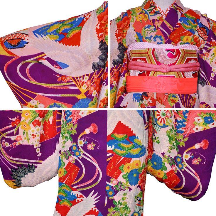 【三歳】【作り帯コーデ】おはりばこの七五三レンタル衣裳♪正絹アンティーク着物で七五三!!【No.s14】【扇面花尽くし】【紫地鶴と扇面花尽くし】【巾着&はこせこ付き】fy16REN07