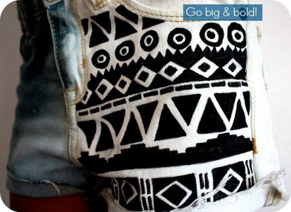 Restyle: DIY Aztec-print shorts on bleached denim - Pearmama