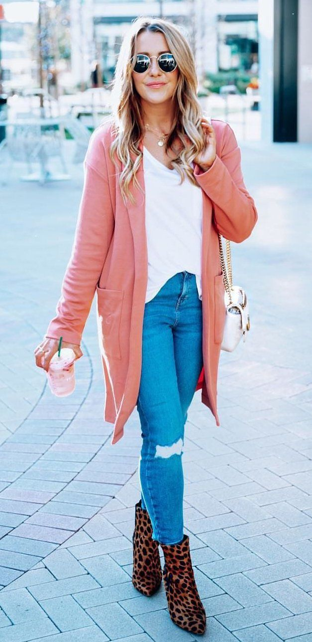 Leopard Booties + Coral Cardigan #spring #outfits