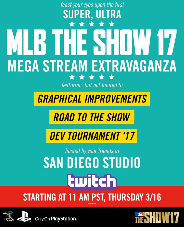 The final stream before MLB the show is released. Includes PRO support and other details; Tune in at 11 AM Pacific. #Playstation4 #PS4 #Sony #videogames #playstation #gamer #games #gaming