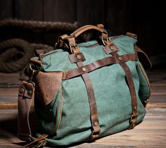 """Green Leisure men's and women's single shoulder bag Leather Canvas Messenger Bag  Washed Canvas Bag Camera Leather Bag  14""""Laptop Bag  1801"""