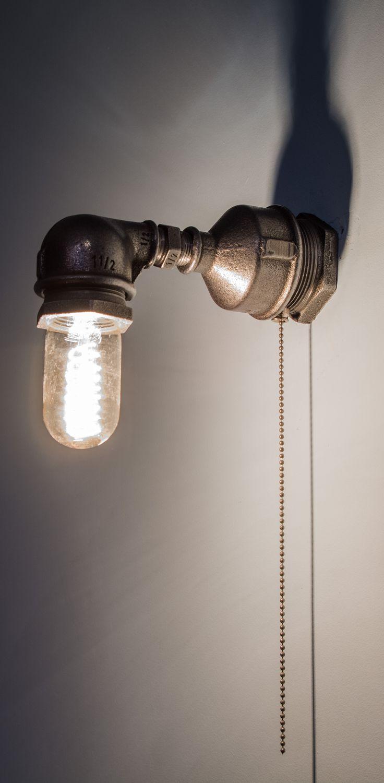 Lampa Industrialna z Rur. Kinkiet MADA. Lampa loft robiona przeze mnie na zamówienie, wykonana z elementów hydraulicznych.