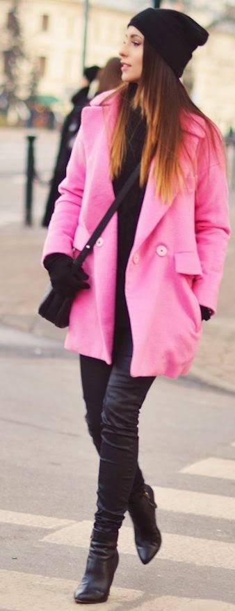 Pink Coat , Black Leather Pant With Black Leather Booties