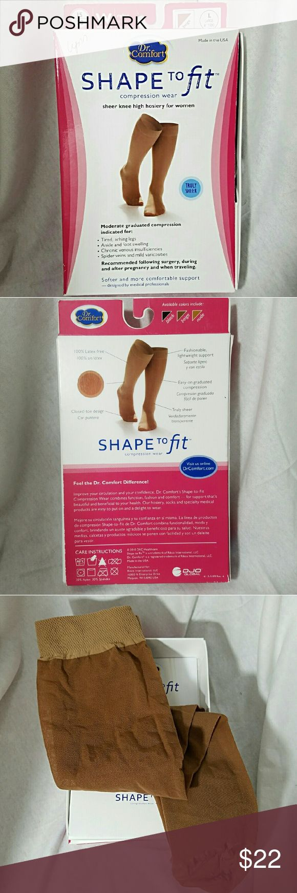 DR. COMFORT *nwt* Shape to Fit Large Compression Brand: Dr. Comfort  Item: *Shape to Fit Compression Wear Sheer Knee High Hosiery For Women *Size Large *Beige *Moderate Compression for Traveling, Post Surgery & During Pregnancy *Prevent Swelling in Legs Ankles & Feet *Protects Against Spider Veins *Encourages Circulatory Wellness *These are NOT Thin Like Panty Hose *My First Name is on Box, But They're NWT *Comes with Reading Material  *Such a Great Add on To Your Purchase w/ No Extra…