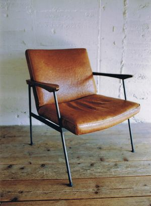 FURROWED-LEATHER ARM CHAIR