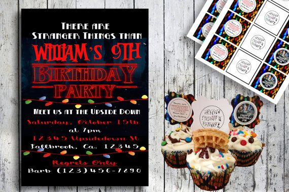 stranger things inspired printable party invitation and by thelittlehippydippy