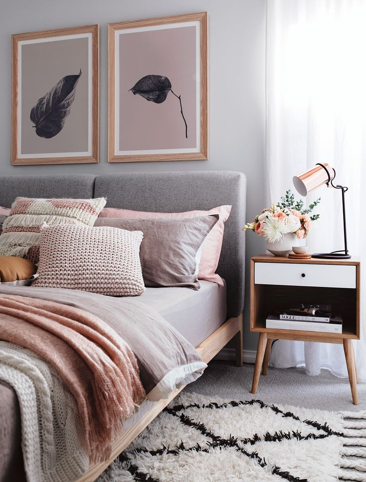 Bedroom Ideas Peach cosy bedroom in peach and grey | bedroom in 2018 | pinterest