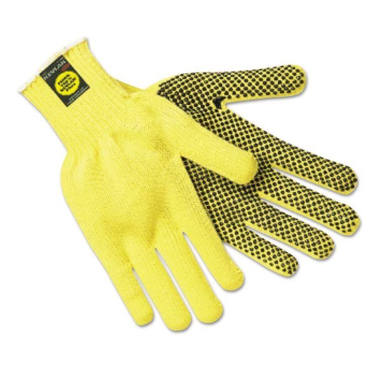 Memphis MPG9366L Kevlar Gloves Large Coated String Knit/Kevlar PVC Dots 12 Pairs Yellow / Black Maintenance Supplies Gloves Fabric