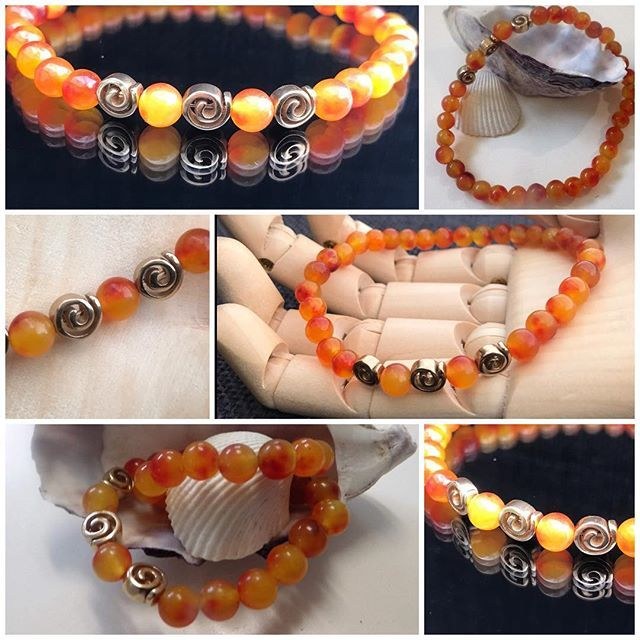 Sale! Spiral Bracelet with Orange Carnelian and Gold Swirls. 6mm beads on crystal elastic. $45 not including postage. #marshyrjewellery