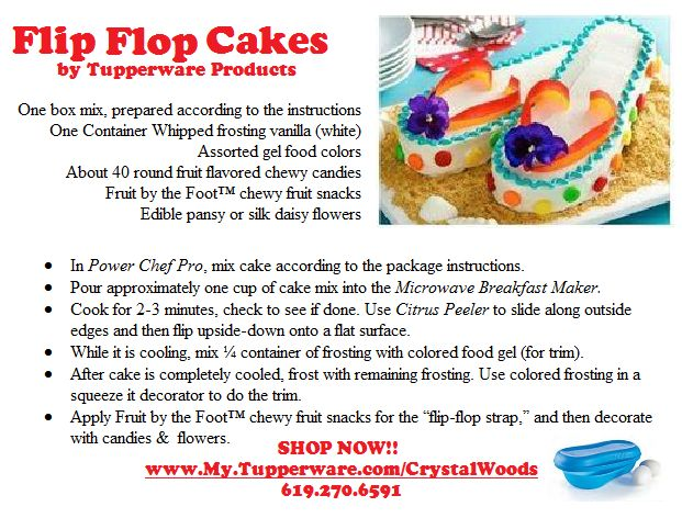 I mentioned the Flip Flop Cakes you can make with the Microwave Breakfast Maker. Here is a copy of the recipe.  Item #725, Page 28 in the Summer 2015 Catalog. A $20 Value.