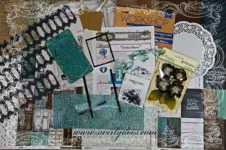 Swirlydoos Scrapbook Kit Club: February Blog Hop and Reveal   February Kit: Artful Blues  swirlydoos.com