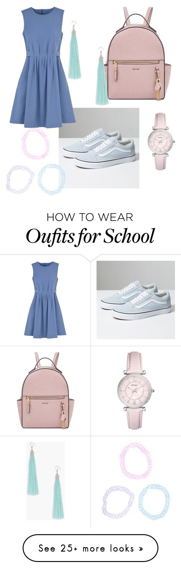 """""""Pastel school girl"""" by zebratx88 on Polyvore featuring Nine West, FOSSIL, Vans, Emporio Armani, Boohoo, Hot Topic and pastelsweaters"""