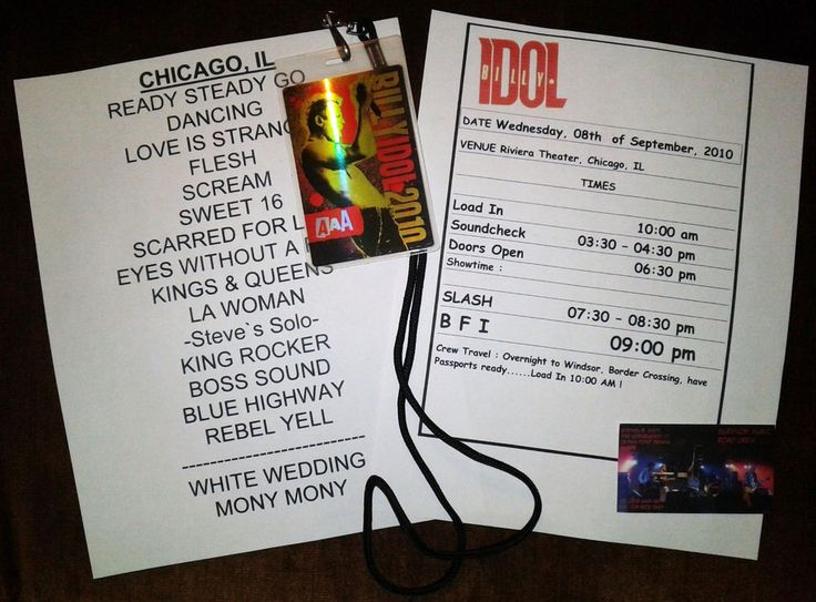 Billy Idol,Slash, Setlist and Itenerary from Riviera Theatre Chicago Sept 2010