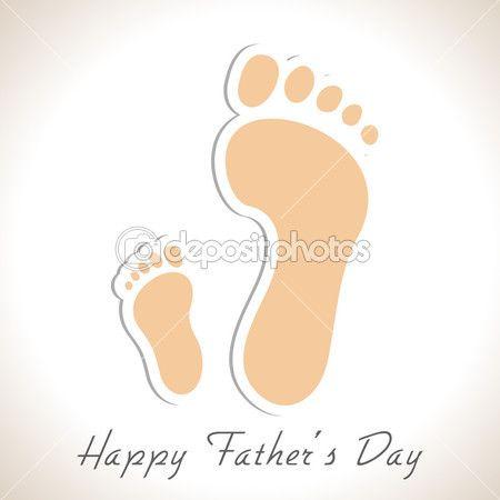 Pegadas de um pai e filho, conceito criativo para feliz f — Ilustração de Stock #25136385