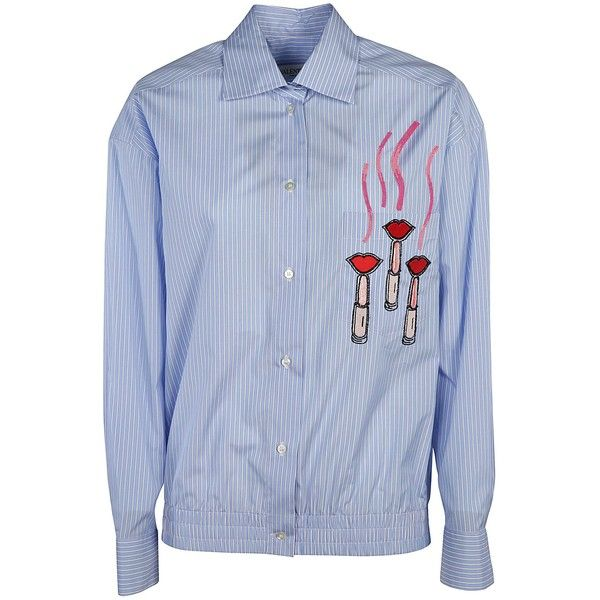 Applique Detail Shirt ($1,300) ❤ liked on Polyvore featuring tops, blue collar shirt, blue top, vertical stripe shirts, valentino shirt and button front shirt