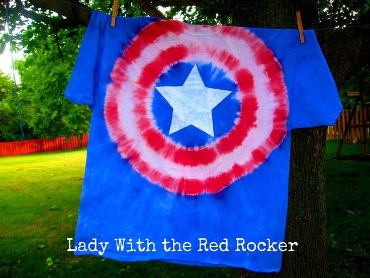 Tie-Dye Captain America Shirt: Captain America Shirts, America Ties, Ties Dyes Shirts, Ties Die Shirts, Tiedi Captainamerica, Captainamerica Shirts, Ties Dyed, Tye Dyes, Ties Dyes Patterns