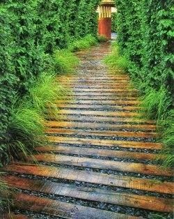 Pallet Projects - Pallet Walkway idea to place boards tighter and fill gaps with shells or glass
