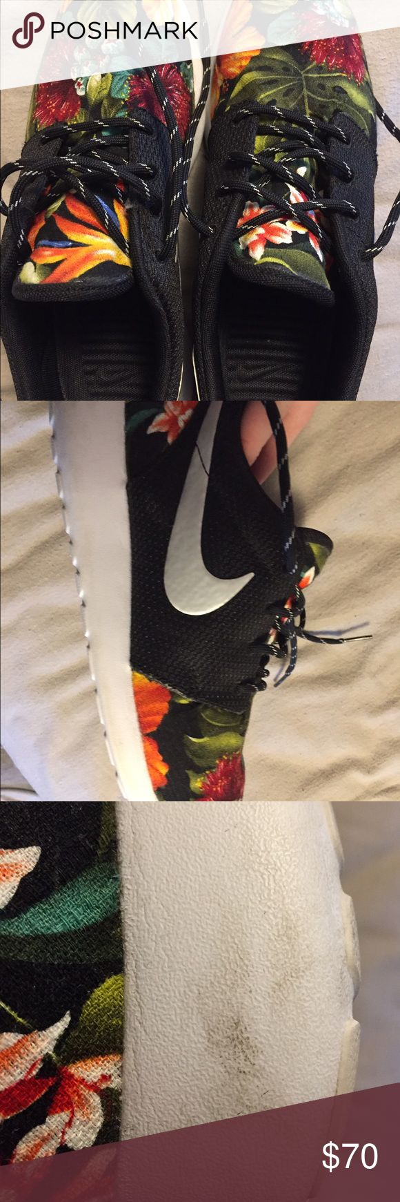 Floral Nike sneakers Worn 3x's adorable floral Nike sneakers size 9. I loveeee these shoes so much but since being pregnant I got in nothing anymore😫. Smoke free home! Nike Shoes Athletic Shoes