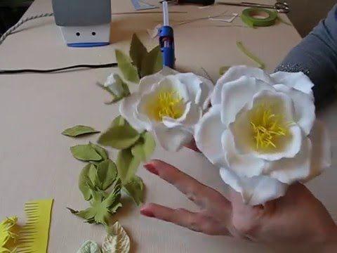 Открытая роза из фоамирана часть 2 Бутон розы и листья. Как сделать буто...