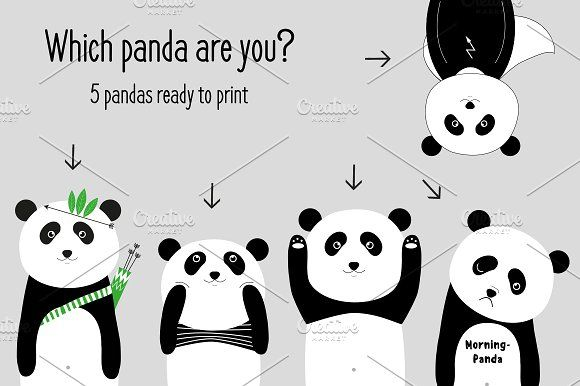 Which panda are you...nursery print by JustynaPszczolka on @creativemarket
