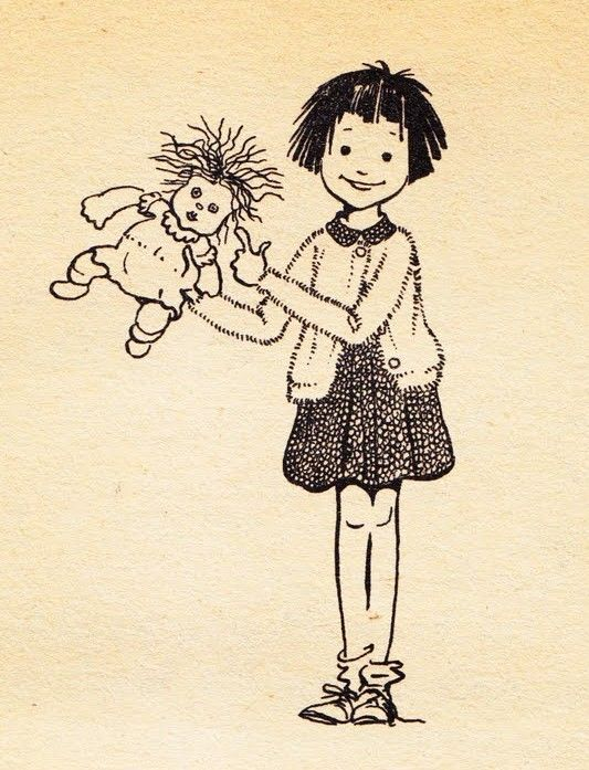 Ramona Quimby in all her glory, with the doll, Chevrolet.  Her books are the bomb!