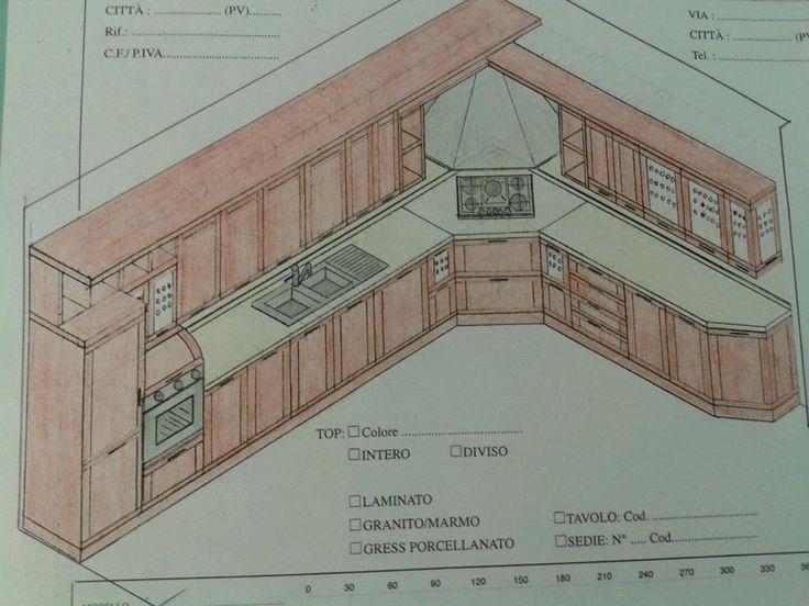 Progetto Cucina composizione con cappa ad angolo.