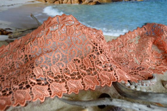 orange lace wide 14.5cm floral mirror design by TheQuiltedCheese