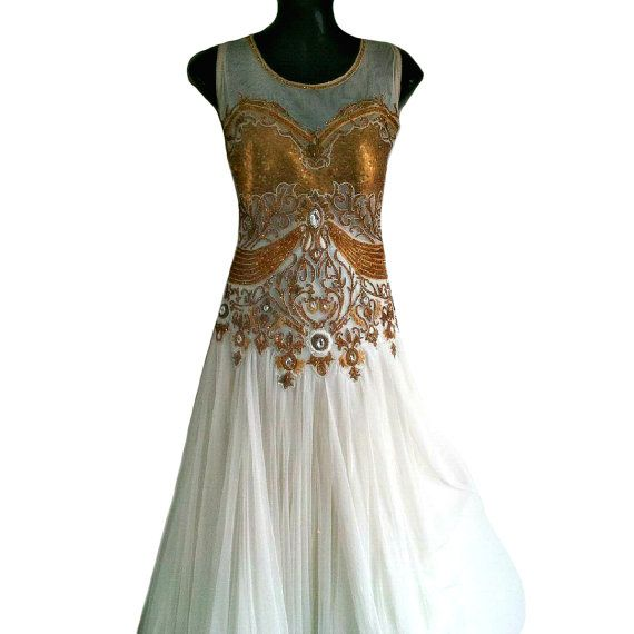 Anishka Gold Sequin Dress, White Gypsy Dress, Ancient Style Indian Wedding Dress, Indian Gold Crystal Dress, Long Evening Ball Gown, XL