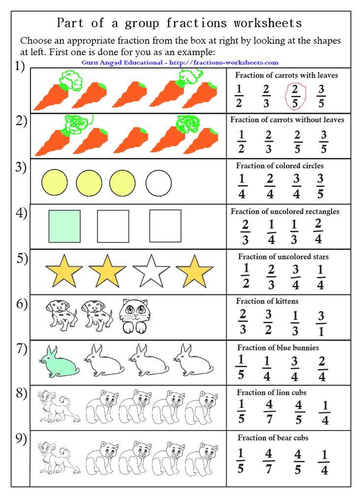 Free Fraction Worksheets worksheets Pinterest Group