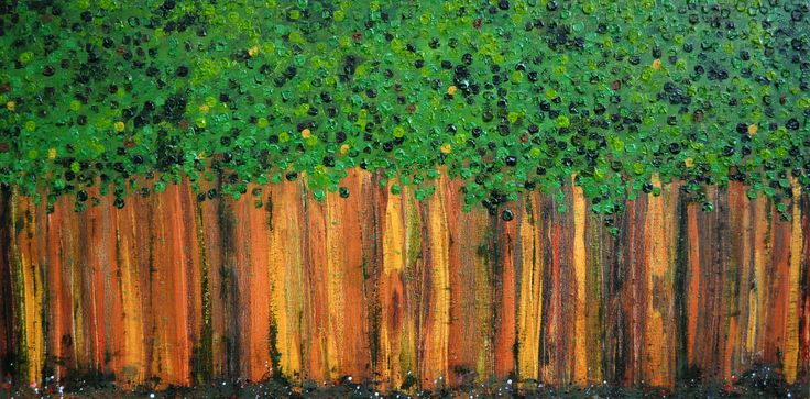 Can't See the Forest for the Trees, Acrylic on canvas, 24 x 48 inches