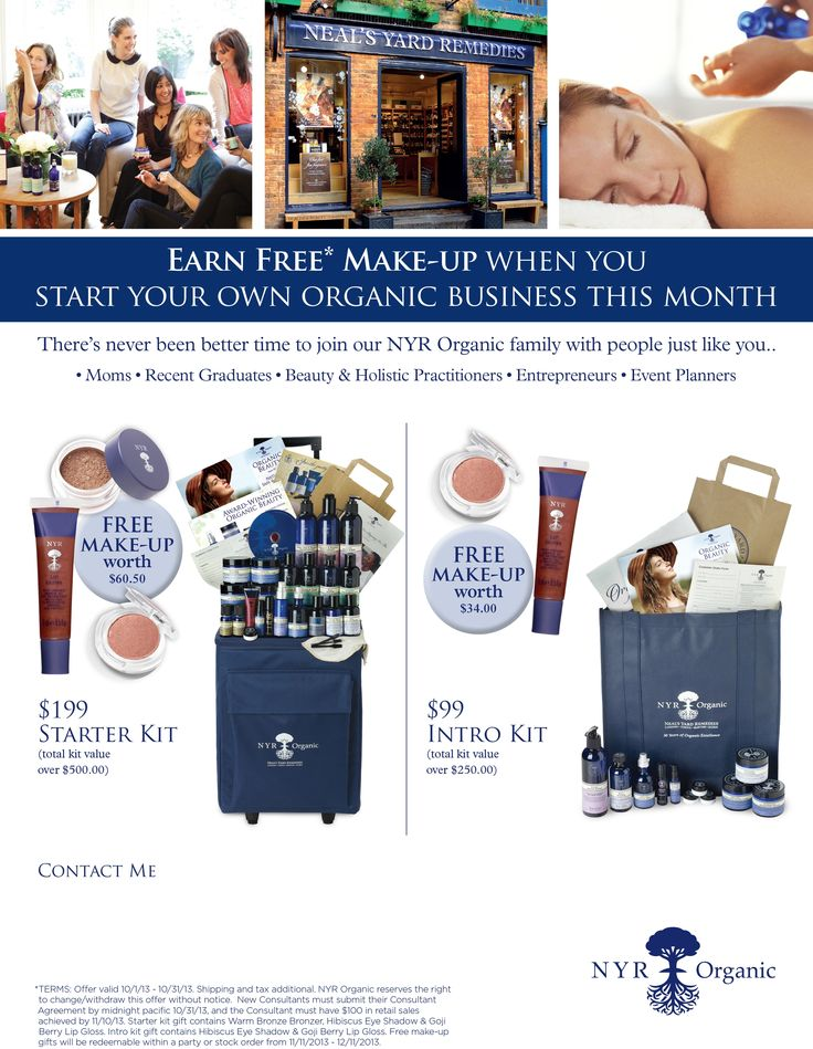 Own your own certified organic business. NYR Organic offers everything to be successful. Only $99 to Join. Visit my website at www.nyrorganiclady.com for details. 949-698-6123