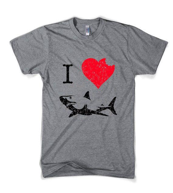 I Love Sharks t shirt funny shark bite shirt by CrazyDogTshirts, $16.99